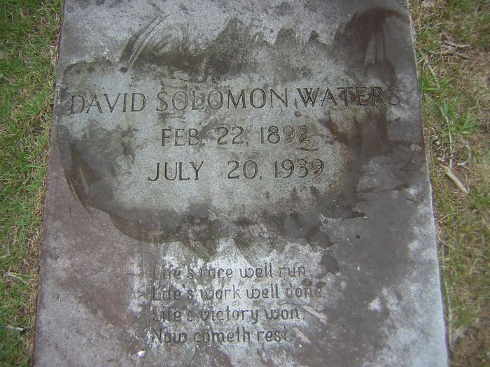 tombstone of david solomon waters sr